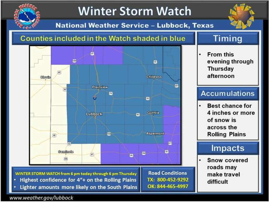 Winter Storm Watch in effect from 6pm Wednesday through 6 pm Thursday. Snow accumulations exceeding 4 inches are possible.