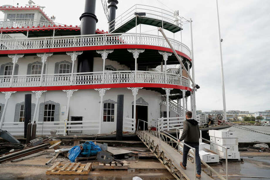 """In this Nov. 29, 2018, photo, Matt Dow, project manager for the restoration of the """"City of New Orleans"""" riverboat, walks on the vessel in New Orleans. The new paddlewheel riverboat is ready to ride the Mississippi, set to begin taking tourists on excursions around New Orleans starting in late January. The City of New Orleans will be the third paddlewheeler to call this Southern city of Mardi Gras fame its home. Photo: AP Photo/Gerald Herbert"""