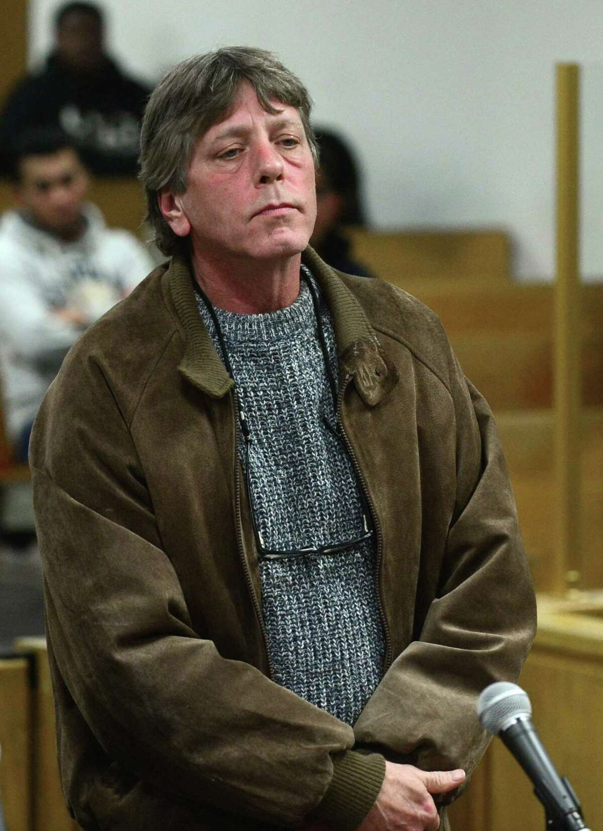 New Canaan resident Mark Lynch was denied parole on Wednesday, Jan. 2, with two years left on a three-year sentence for giving his son, Chris Lynch, the heroin that killed him. Lynch is pictured here being arraigned in Norwalk Superior Court for manslaughter on Friday, Dec. 2, 2016.