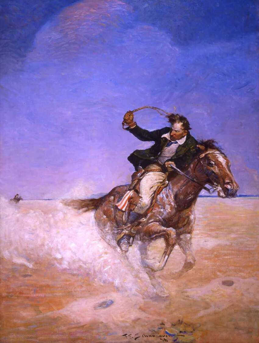 Frank E. Schoonover, Abe Catherson (Pony Express Rider), 1916. Illustration for The Range Boss by Charles Alden Seltzer, A.C. McClurg & Company. Oil on canvas (Images courtesy of Norman Rockwell Museum)
