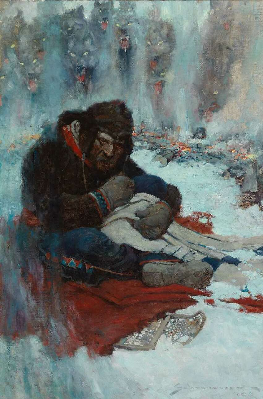 Frank E. Schoonover, Circle of Fire (They Can Come in and Get Me Now), 1906. Illustration for White Fang by Jack London, Outing Magazine, May 1906 (Images courtesy of Norman Rockwell Museum)