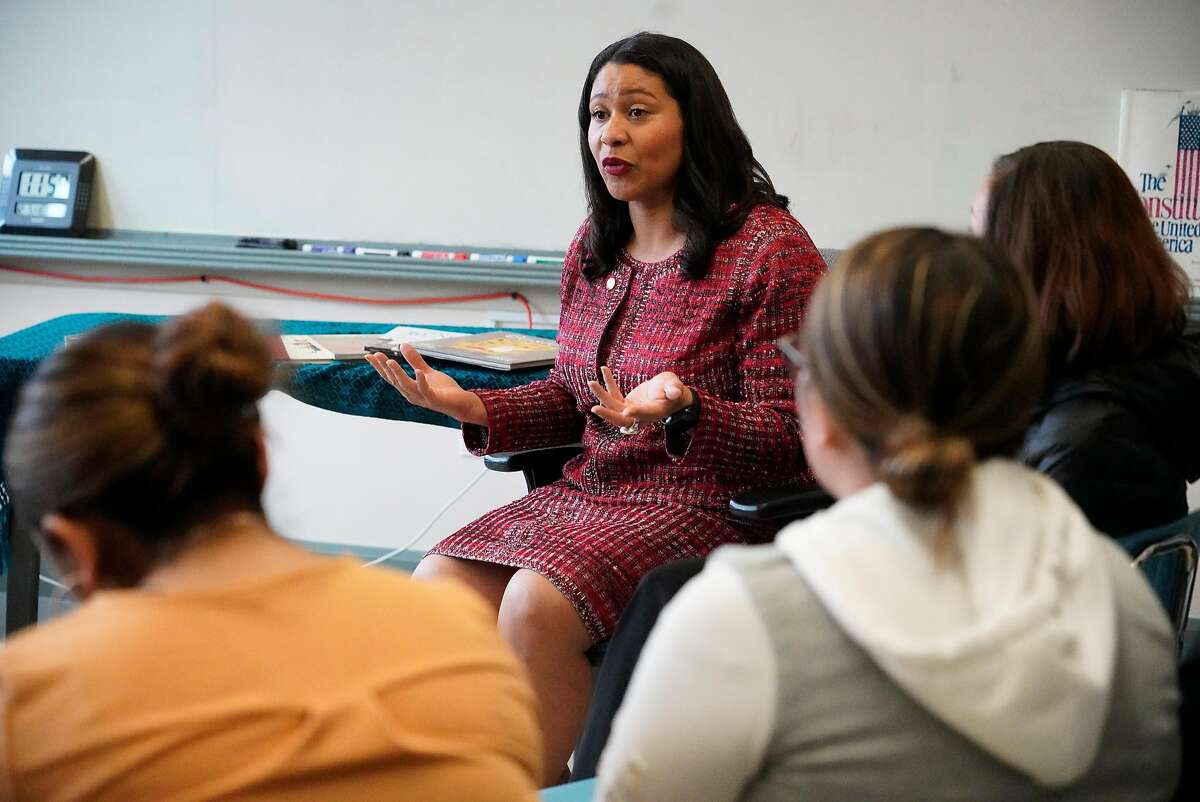 Mayor London Breed talks to students at Hilltop High School on Wednesday, December 5, 2018 in San Francisco, Calif.