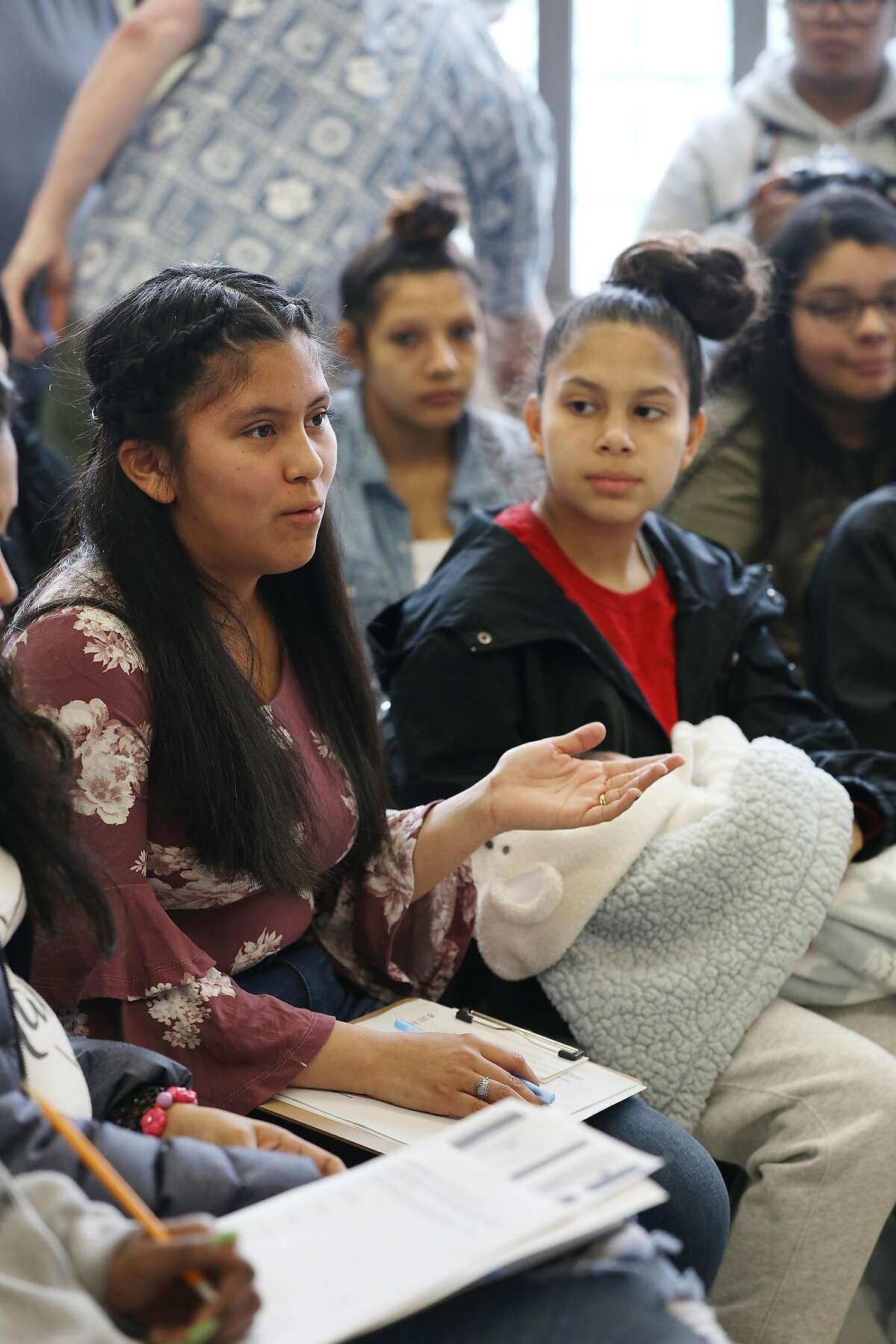 Hilltop High School student Carolina Orozco (left), 18 talks to Mayor London Breed (not shown) as Mayor Breed speaks with students at Hilltop High School on Wednesday, December 5, 2018 in San Francisco, Calif.