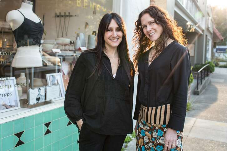 Keira Kotler (left), founder of Everviolet, collaborates with Bonnie Powers, co-owner and curator of Poet and/the Bench during the launch event for Everviolet on Saturday, December 8, 2018 in Mill Valley, Calif.  Everviolet is an intimate apparel collection designed for women in all phases of treatment and survivorship of breast cancer and related issues.