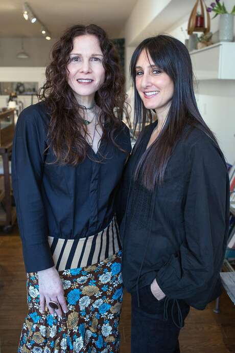 Bonnie Powers (left), co-owner and curator of Poet and/the Bench in Mill Valley, and Keira Kotler, founder of Everviolet, collaborated for a launch event for Everviolet in December 2018 in Mill Valley. Photo: Jana Asenbrennerova / Special To The Chronicle