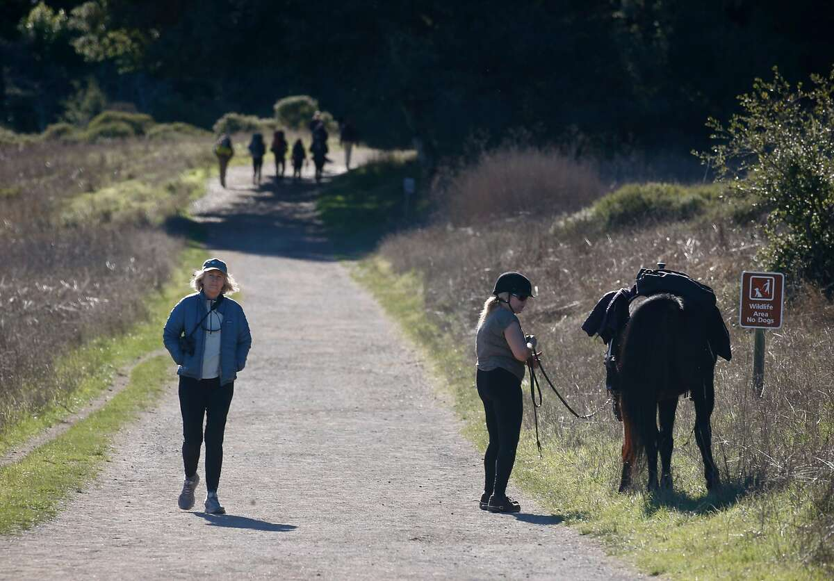 Visitors walk on the Bear Valley Trail at Point Reyes National Seashore in Olema, Calif. on Wednesday, Jan. 2, 2019. The epic crush of summer visitors at renowned recreation destinations across California is projected to continue through September and October - but could possibly abate come November.