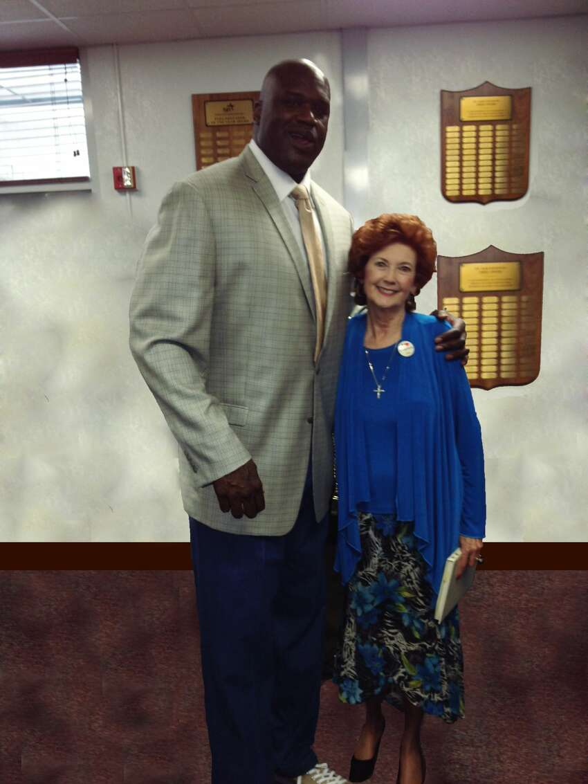 In 1989, shortly after the Cole High School boys basketball team posted a 36-0 record and won the 3A State Championship, Shaquille O'Neal took a photo with librarian Sandee Mewhinney. The Cole team was recently honored on the 25th anniversary of their perfect season at the State Basketball Tournament in Austin.