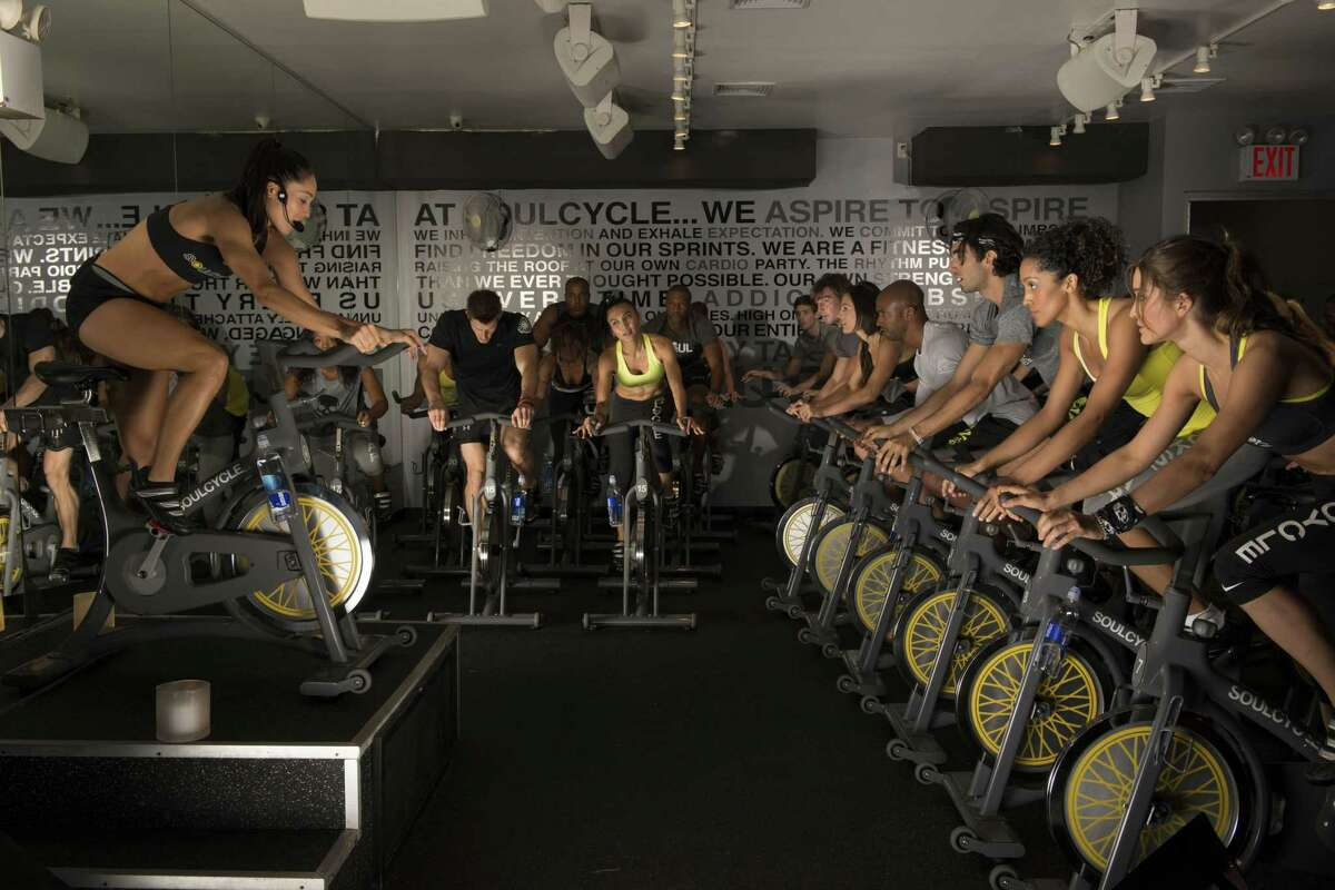 A cycling class today at SoulCycle.