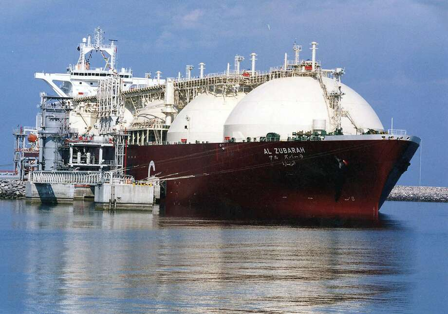 An undated picture shows a Qatari Liquid Natural Gas (LNG) tanker ship being loaded up with LNG at Raslaffans Sea Port, northern Qatar. Photo: AP