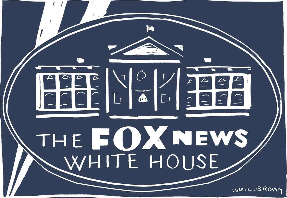 This artwork by William Brown refers to Donald Trump's public reactions to Fox News reports, often making policy and taking action in response. Photo: Tribune Content Agency / William Brown