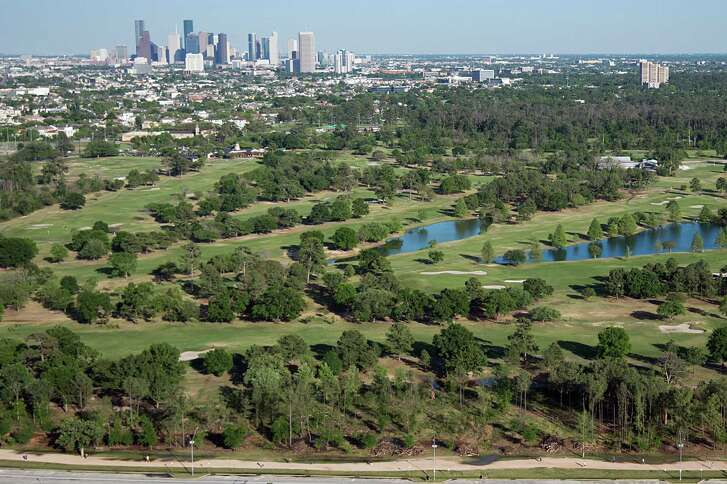 An aerial view of Memorial Park Golf Course in 2013 with downtown Houston in the distance.