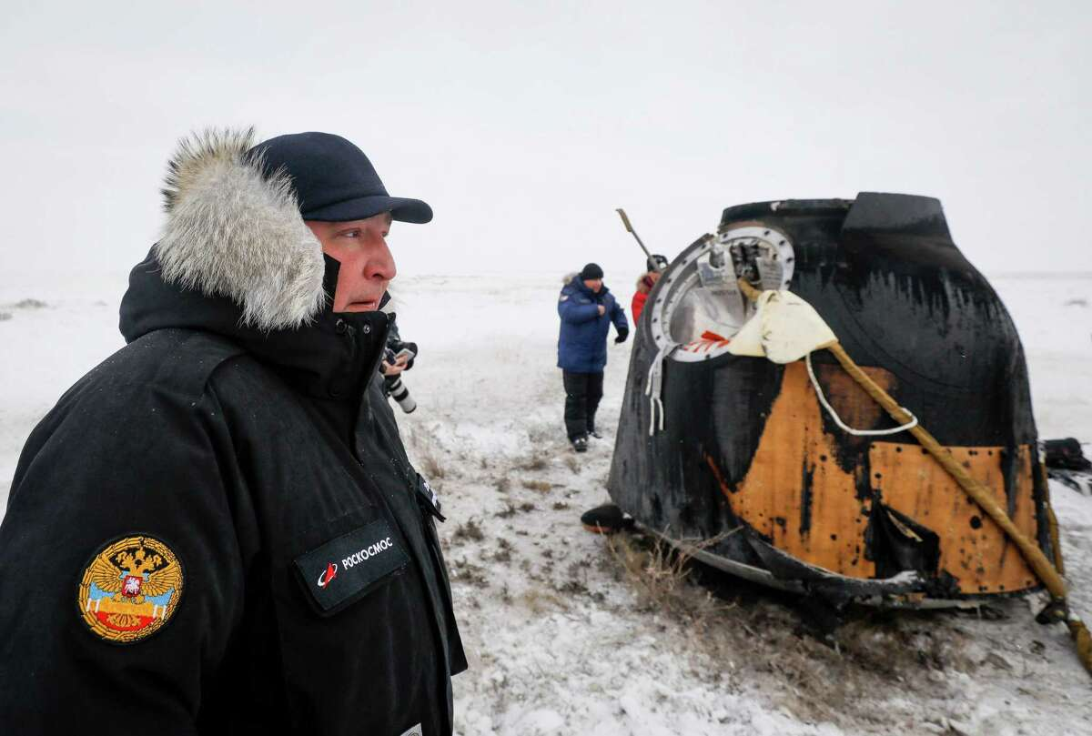 Dmitry Rogozin, the head of the Russian space agency Roscosmos, looks on while standing at the site of landing of the Soyuz MS-09 capsule carrying the International Space Station crew of NASA astronaut Serena Aunon-Chancellor, Alexander Gerst of the European Space Agency and Russian cosmonaut Sergey Prokopyev in a remote area outside the town of Dzhezkazgan (Zhezkazgan), Kazakhstan, on December 20, 2018. The three astronauts landed back on Earth after a troubled stint on the ISS marred by an air leak and the failure of a rocket set to bring new crew members.