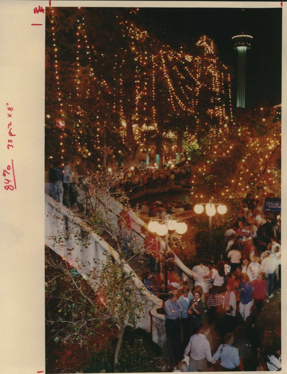 Christmas River lights near College and Presa looking Southeast (San Antonio, Texas) (Christmas Lights) (Holidays) (River Walk)