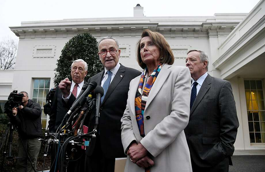Democratic Congressional leaders, including House Speaker Nancy Pelosi and Senate Minority Leader Chuck Schumer, speak outside the West Wing of the White House after meeting with President Donald Trump to end the shutdown on Wednesday, Jan. 2, 2019 in Washington, D.C. (Olivier Douliery/Abaca Press/TNS) Photo: Olivier Douliery, TNS