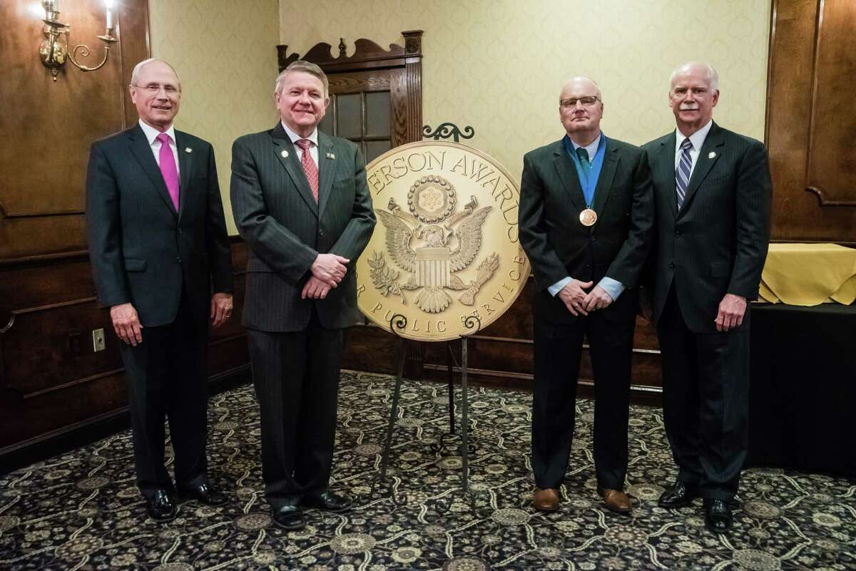 Five finalists and five medalists were recognized April 19th, 2018, at the Century House in Latham, NY for the 2018JeffersonAwards. Theawardsare jointly sponsored by the Times Union, NewsChannel 13 and St. Peter's Health Partners, to recognize people in the community wo perform outstanding public service. From left are Dr.James K. Reed,President & CEO, St. Peter's Health Partners, Stephen P. Baboulis Vice President & General Manager, WNYT/WNYA, Robert Watson and George R. Hearst III,Publisher & CEO, Times Union.  (Special to the Times Union by Eric Jenks)