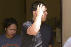 Ruben Hernandez, 26, leaves the federal courthouse in San Antonio onJuly 26. In court Wednesday, Hernandez pleaded guilty to conspiracy to possess with intent to deliver methamphetamine..
