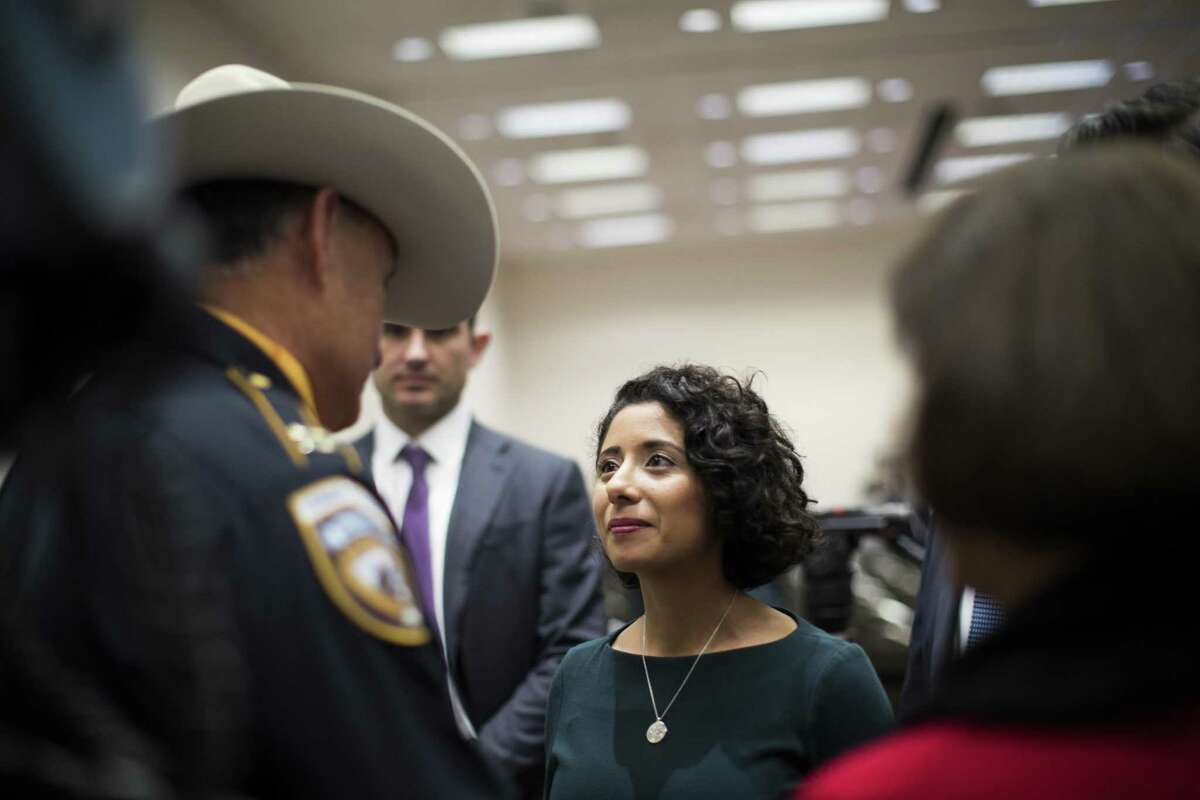 Harris County Judge Lina Hidalgo greeted visitors Tuesday, Jan. 1, 2019, after being sworn in to her new position leading one of the largest counties in the nation.