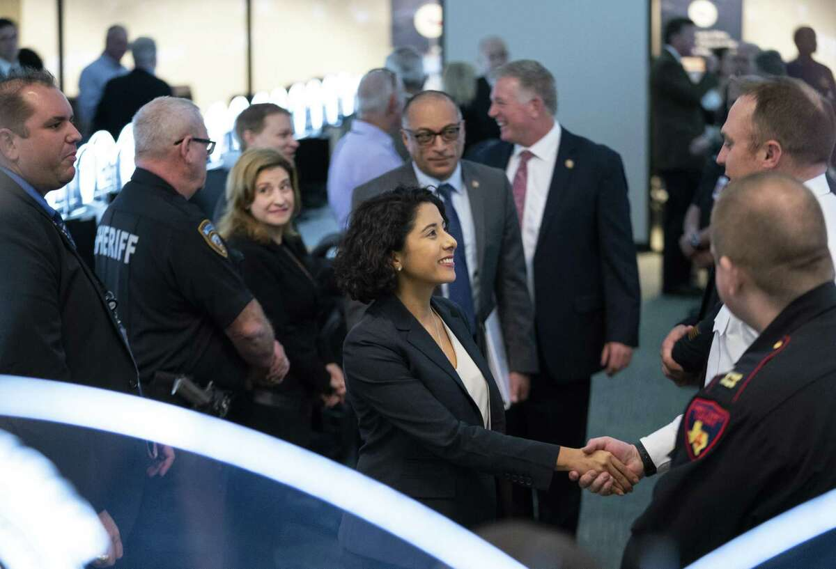 Lina Hidalgo met for a briefing with officials inside the Harris County Emergency Operations Center on Dec. 20, 2018 in Houston before assuming the post of Harris County Judge on Jan. 1, 2019.