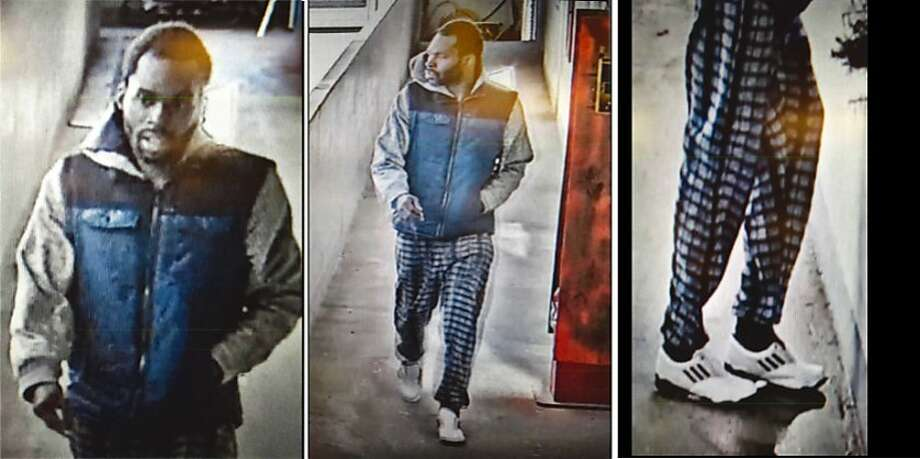 Security photos show a man suspected of sexually assaulting a woman in San Francisco's Chinatown on New Year's Eve. Photo: SFPD