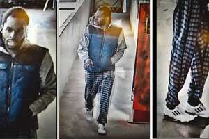 Security photos show a man suspected of sexually assaulting a woman in San Francisco's Chinatown on New Year's Eve.