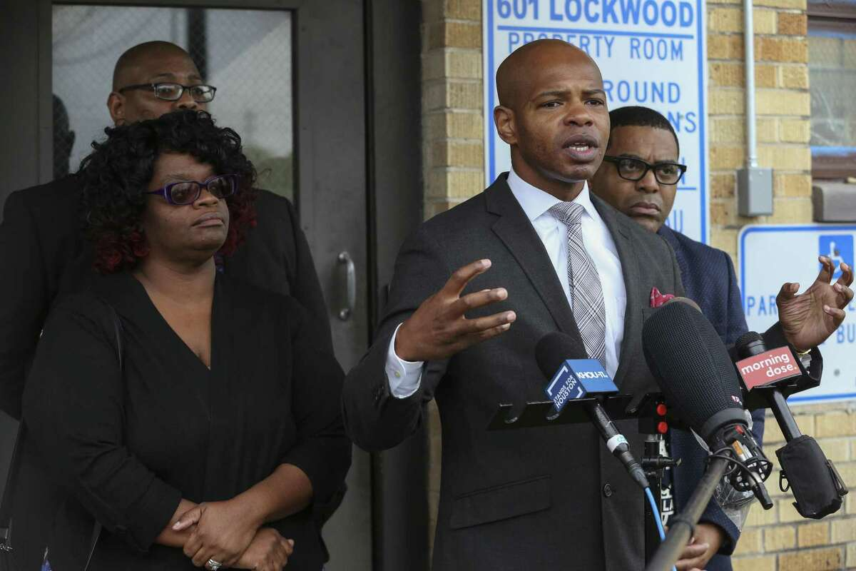 Kisshima Williams, from left, and husband, Pastor Donnel Douglas Sr., join activists Deric Muhammad and Pastor E.A. Deckard at a press conference Jan. 2, 2019, to express concerns that the deadly shooting of 7-year-old Jazmine Barnes was racially motivated. The shooter, a white male in a pickup truck, seemingly targeted the girl's family at random when they made their way to a Walmart near East Beltway 8 feeder and Wallisville Road on Sunday morning. More than a year ago, Williams' son, A'Vonta Williams, then 21, was shot just a few miles away in a similar scenario.