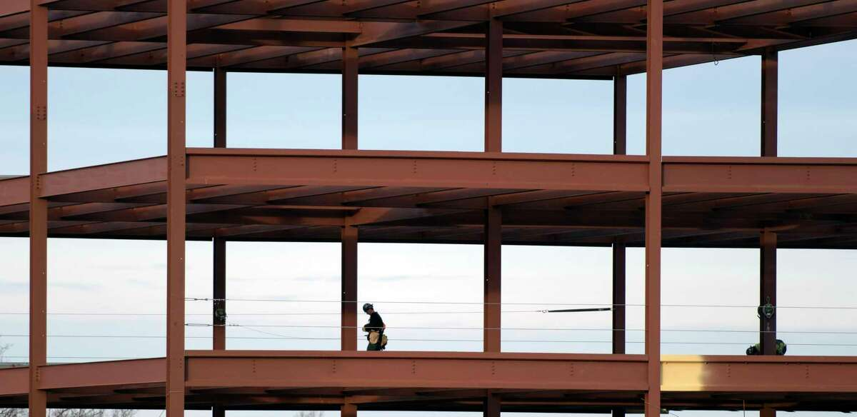 A construction worker works on the Starlite project on Wednesday, Jan. 2, 2019, in Latham, N.Y. (Phoebe Sheehan/Times Union)