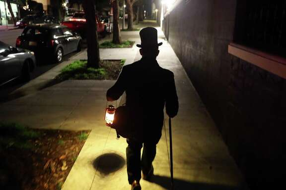 Christian Cagigal leads the San Francisco Ghost Hunt Walking Tour in the Pacific Heights neighborhood of San Francisco on Thursday, December 27, 2018.