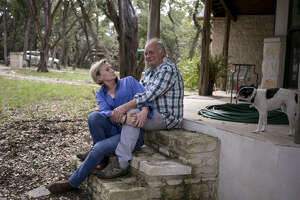 WIMBERLEY, TEXAS - November 9, 2015: Screenwriter and producer Al Reinert with his wife, actor Lisa Hart Carroll, photographed in their home in Wimberley, Texas. Mr. Reinert's new documentary about John J. Audubon will screen at two film festivals in Houston in November. Ilana Panich-Linsman for The Houston Chronicle