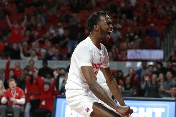 Houston Cougars guard Dejon Jarreau (13) screams after dunking the ball during the second half of an NCAA Men's basketball game at Feritta Center, Wednesday, Jan. 2, 2019, in Houston.