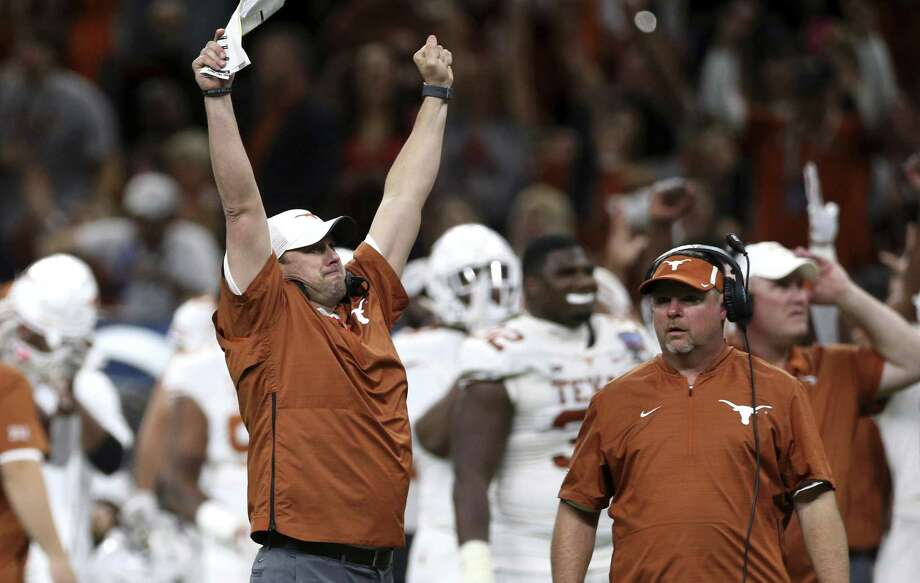 Coach Tom Herman basks in the moment as Texas strikes again during its Sugar Bowl conquest of No. 5 Georgia. Photo: Rusty Costanza / Associated Press / Copyright 2019 The Associated Press. All rights reserved.