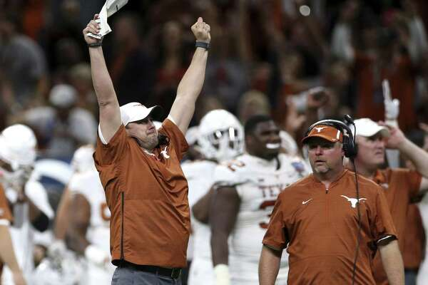 Coach Tom Herman basks in the moment as Texas strikes again during its Sugar Bowl conquest of No. 5 Georgia.