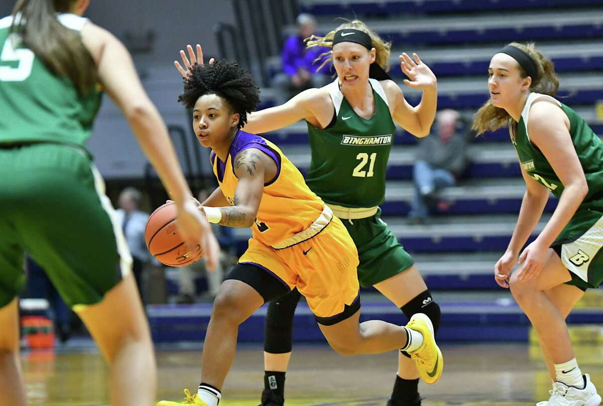 University at Albany's Kyara Frames takes the ball up the court during a basketball game against Binghamton at SEFCU Arena on Wednesday, Jan. 2, 2019 in Albany, N.Y. (Lori Van Buren/Times Union)