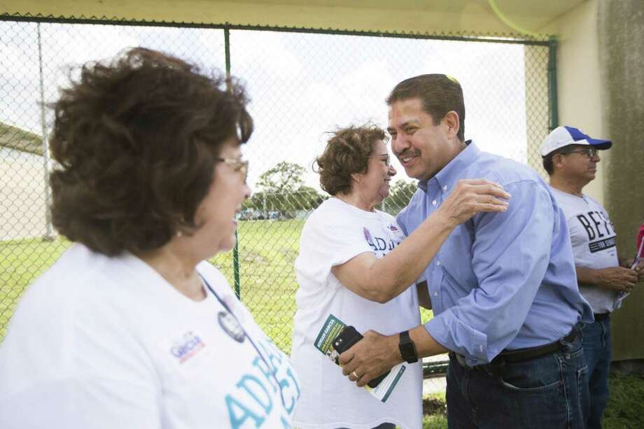 County Commissioner Present 2 Adrian Garcia embraces Dolores Zermeno at Denver Harbor Comm. Center on Election Day, Tuesday, Nov. 6, 2018, in Houston. Photo: Marie D. De Jesús, Houston Chronicle / Staff Photographer / © 2018 Houston Chronicle