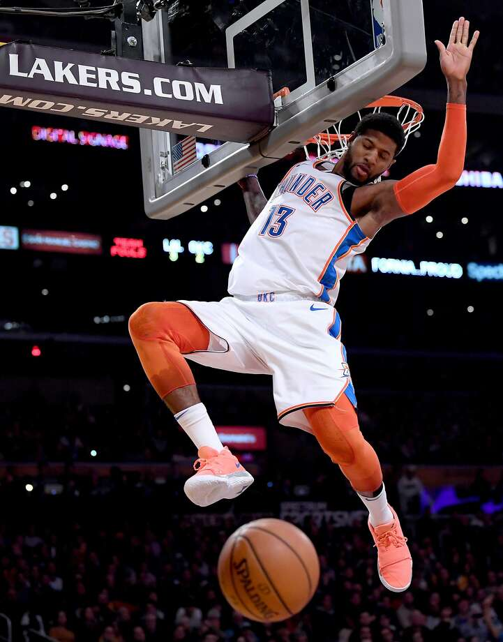 Paul George scored 37 points as the Thunder beat the Lakers 107-100 in Los Angeles. Photo: Harry How / Getty Images