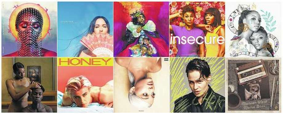 "This compilation photo of album covers shows ""Dirty Computer"" (top row, from left) by Janelle Monae, released by Atlantic Records; ""Golden Hour"" by Kacey Musgraves, released by MCA Nashville; ""KOD,"" by J. Cole, released by Dreamville/Roc Nation/Interscope Records; ""Insecure: Music from the HBO Original Series, Season 3,"" performed by various artists, released by RCA; The Kids Are Alright"" by Chloe x Halle, released by Parkwood Entertainment/Columbia, and bottom row from left, ""Everything Is Love"" (bottom row, from left) by The Carters, also released by Parkwood Entertainment/Columbia; ""Honey,"" by Robyn, released by Konichiwa/Interscope; ""Sweetener,"" by Ariana Grande and released by Republic; ""Chris,"" by Christine and the Queens, released by Music Because; and ""The Radio Winners,"" by Madisen Ward and the Mama Bear released by Glassnote. Photo: AP Photo"