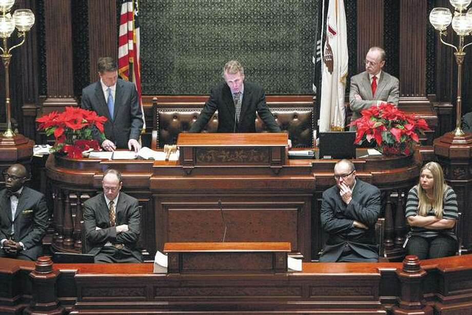 Speaker of the House Michael Madigan presides over the Illinois House of Representatives in Springfield. Photo: Scott Olson | Getty Images