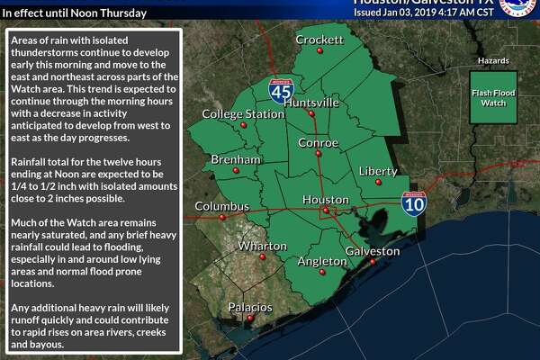Southeast Texas is under a flash flood watch until noon on Thursday, Jan. 3, 2019.