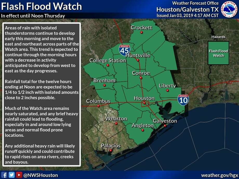 Southeast Texas is under a flash flood watch until noon on Thursday, Jan. 3, 2019. Photo: National Weather Service Houston/Galveston