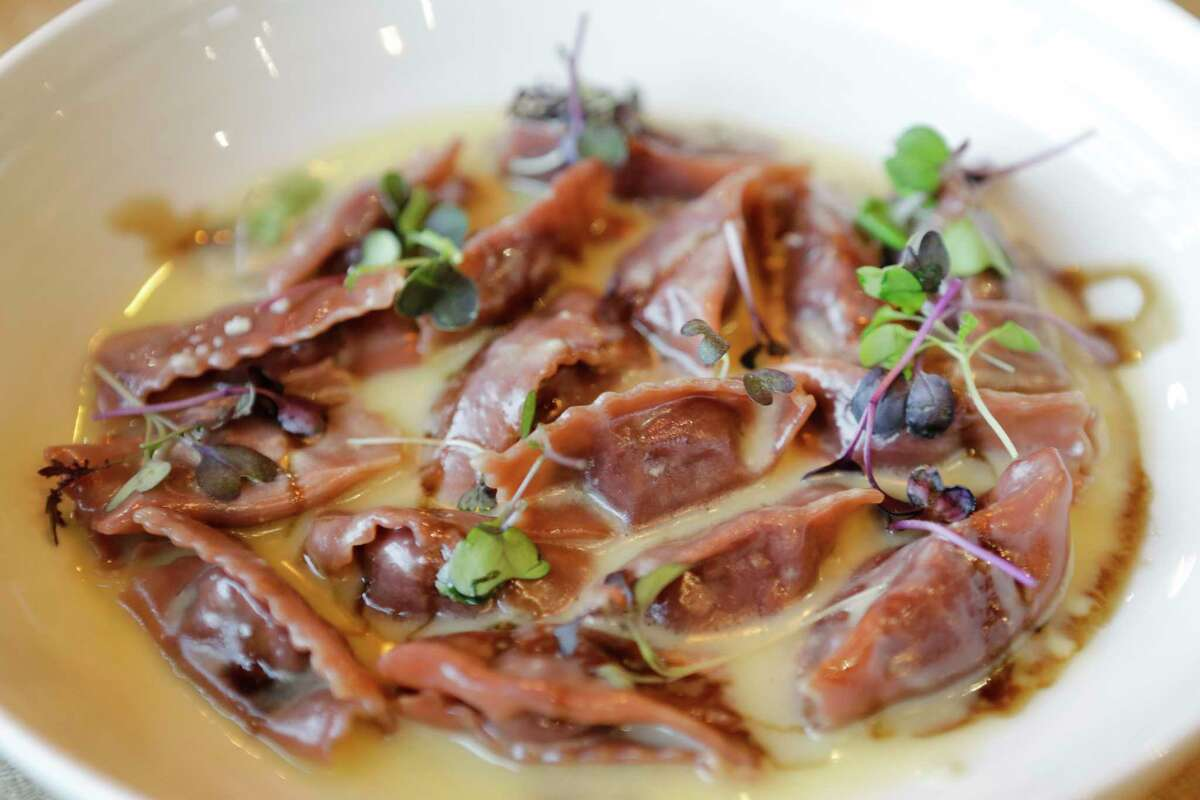 Sweet purple agnolotti with gorgonzola and sweet potato in a sage and butter sauce at Mastrantos, 927 Studewood.