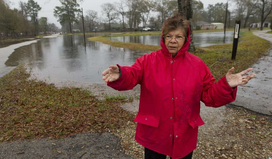Nacy Alaniz points out flooding around her home after heavy rains continue to flood portions of Greenbough Street, Thursday, Jan. 3, 2019, in Conroe. Photo: Jason Fochtman/Staff Photographer