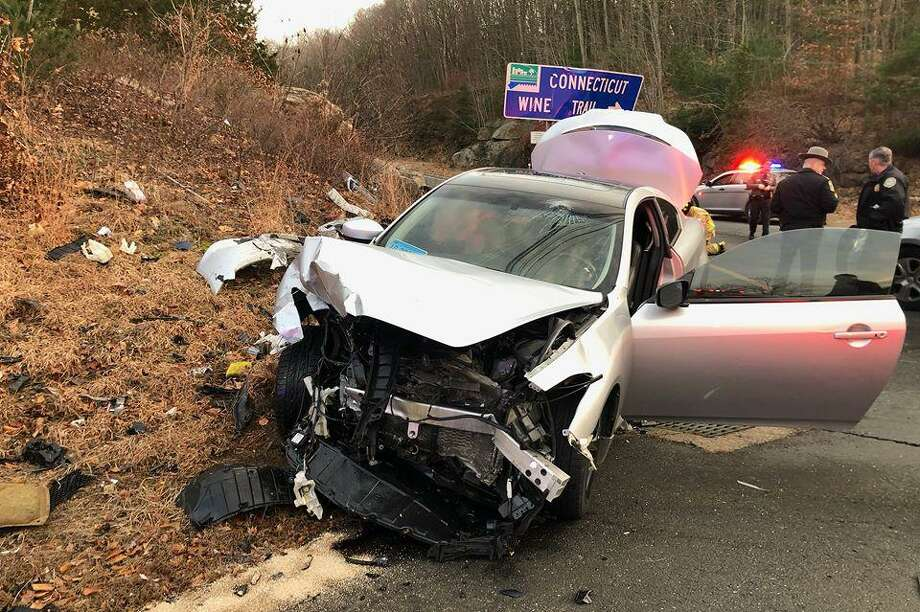 Haddam Volunteer Fire Co. crews were called to a motor vehicle accident on Killingworth Road near the Route 9 ramp intersection Dec. 27. Photo: Olivia Drake Photo