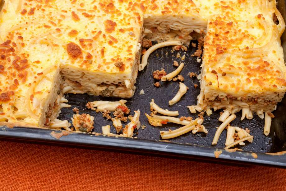 Pastitsio in the pan. Note the lack of penne and tomato sauce. Photo: Blackboard1965/Getty Images/iStockphoto