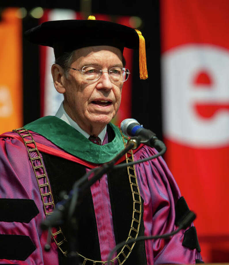 SIU Interim President Kevin Dorsey pictured at the 2018 SIUE fall commencement ceremony. Photo: For The Intelligencer