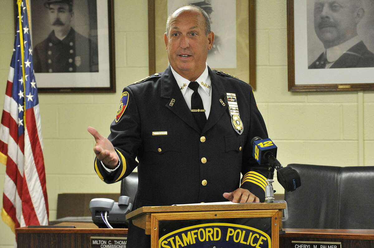Police Chief Jon Fontneau speaks during the swearing in ceremony of Capt. Thomas Wuennemann as assistant chief at Stamford Police headquarters in Stamford, Conn., on Wednesday, Aug. 12, 2015.
