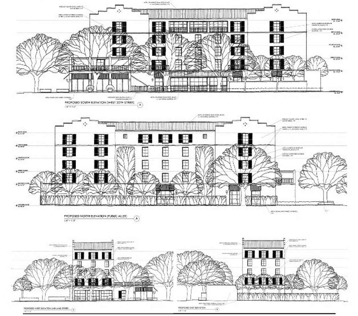 Elevations of the proposed Maison Robert hotel.