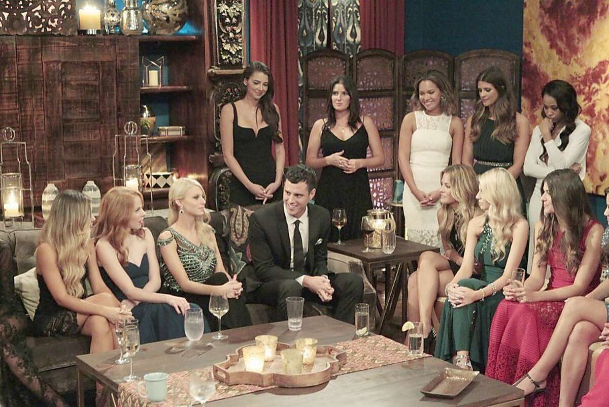 """This year's bachelor, Ben Higgins, chats with some of the women vying for his heart on Season 20 of """"The Bachelor"""" on ABC. MUST CREDIT: Rick Rowell, ABC"""