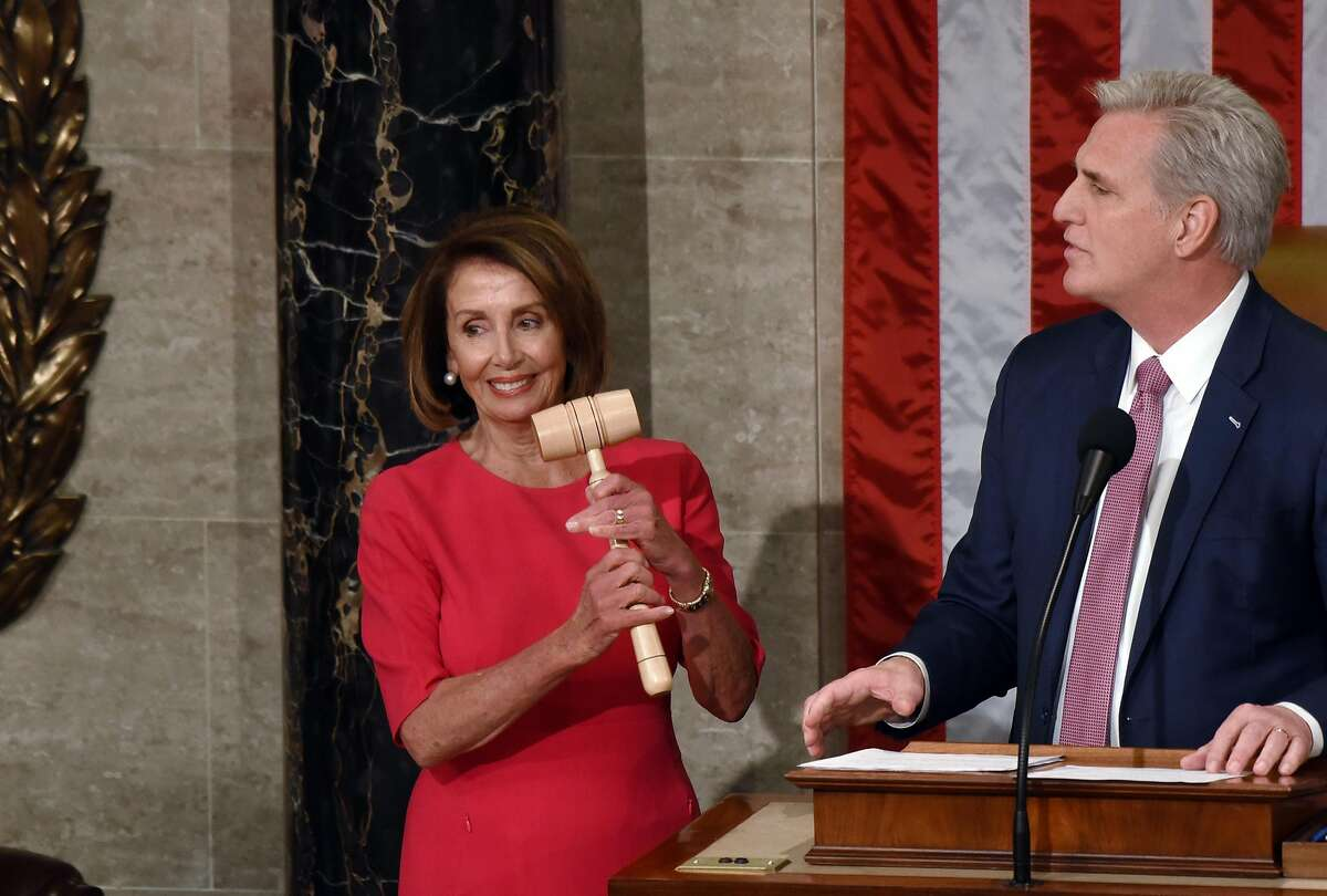 Minority Leader Kevin McCarthy gives a speech before presenting the gavel to Speaker of the House Nancy Pelosi during the 116th Congress and swearing-in ceremony on the floor of the U.S. House of Representatives at the U.S. Capitol on Jan. 3, 2019 in Washington, D.C. (Olivier Douliery/Abaca Press/TNS)