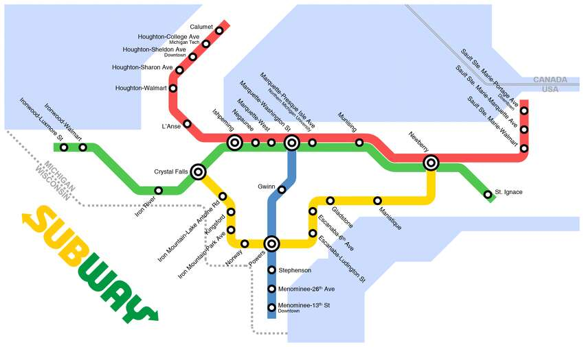 A map envisioning the Upper Peninsula of Michigan's transit system connected by Subway restaurants, created by 16-year-old Jeff McGough.
