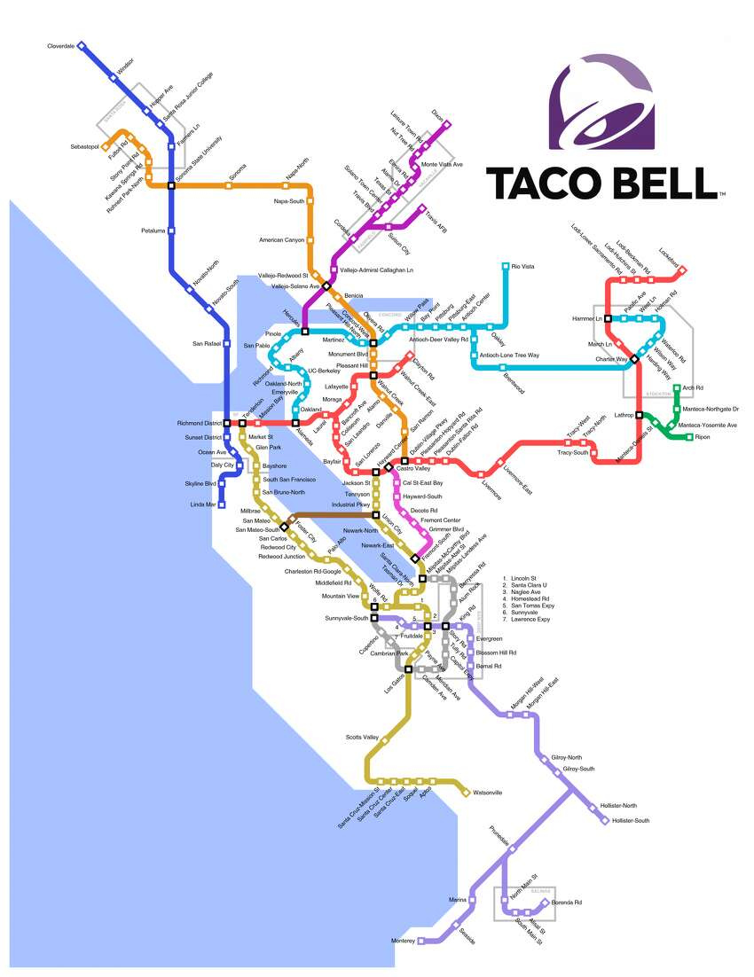 A map envisioning the Bay Area's transit system connected by Taco Bell restaurants, created by 16-year-old Jeff McGough.