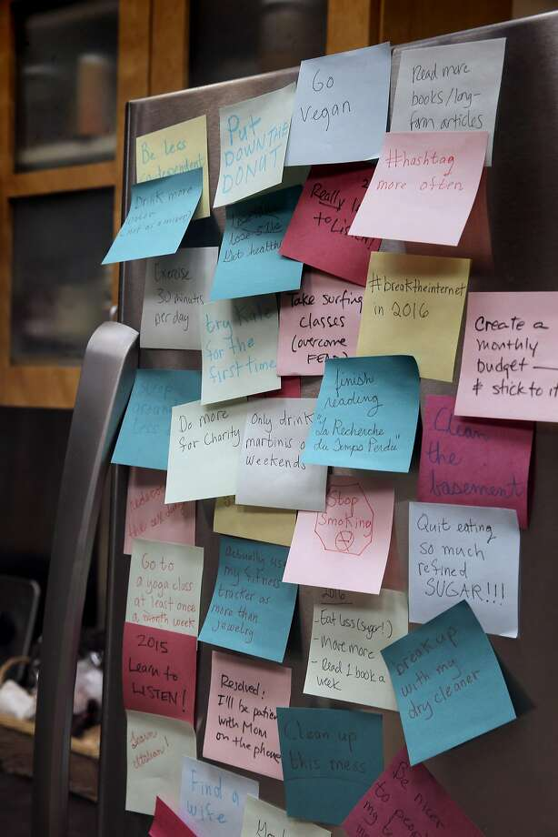 Post-it notes illustrating New Year's resolutions for 2016 in San Francisco. Photo: Carlos Avila Gonzalez / The Chronicle